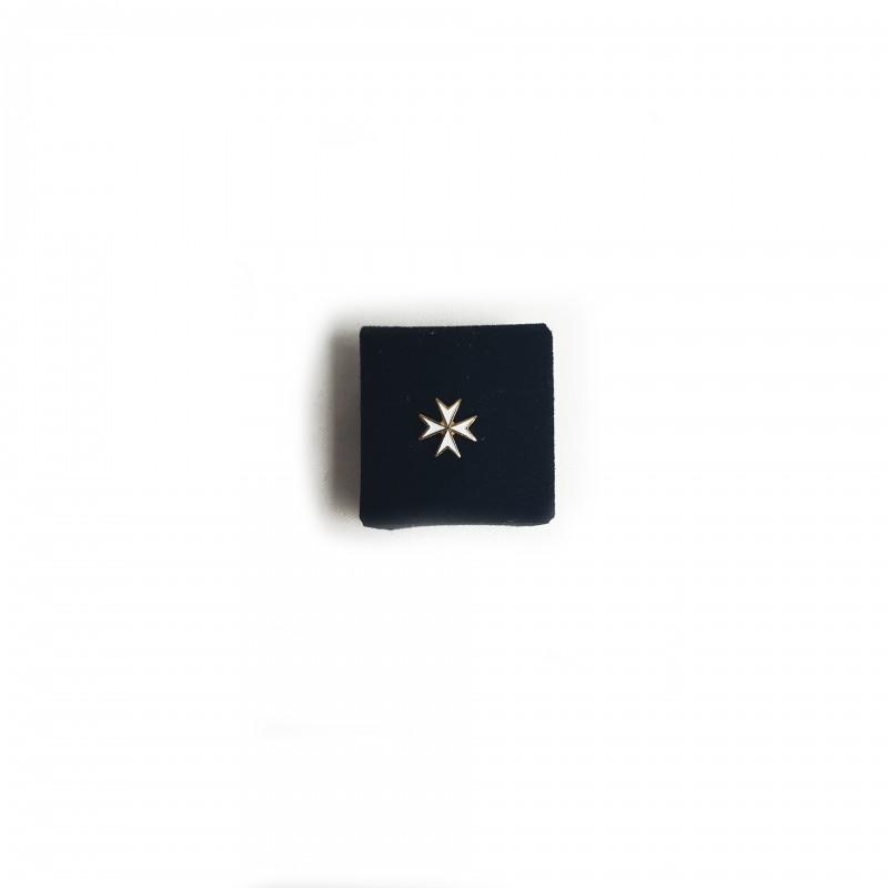 Épinglette MALTE, croix de Malte émail blanc / métal doré