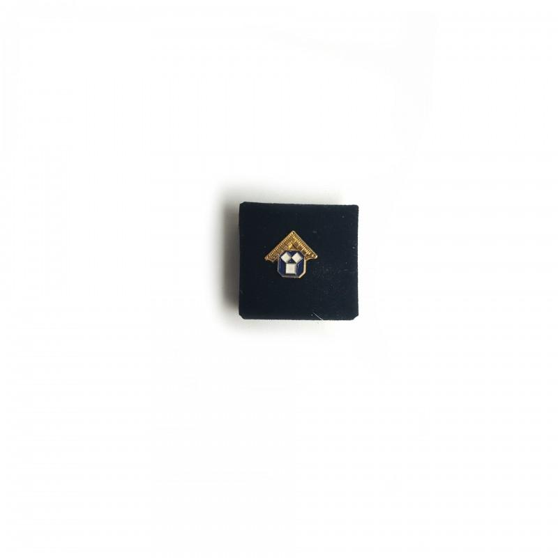 Épinglette PM Équerre dorée & Pythagore émail bleu cloisonné / métal doré