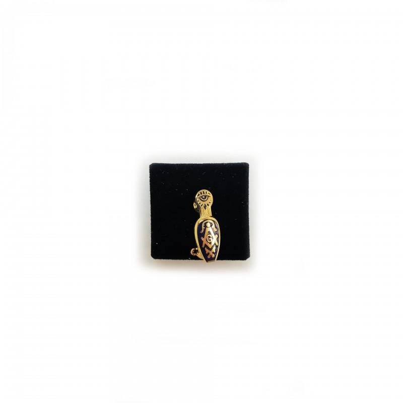 Épinglette Pantoufle avec Eq., Comp. & G, émail cloisonné bleu, métal doré