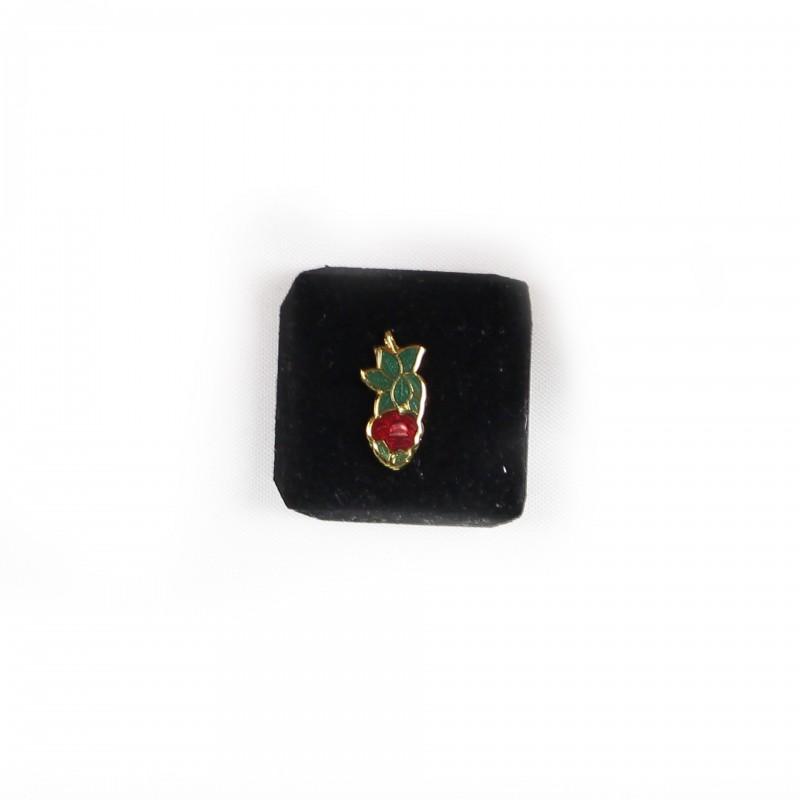 Epinglette Ch.R.-C. 18º REAA, rose émail rouge et vert / métal doré