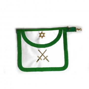 Tablier III° Ordre, satin, plissé, brodé 2 glaives or en sautoir, hexalpha sur bavette