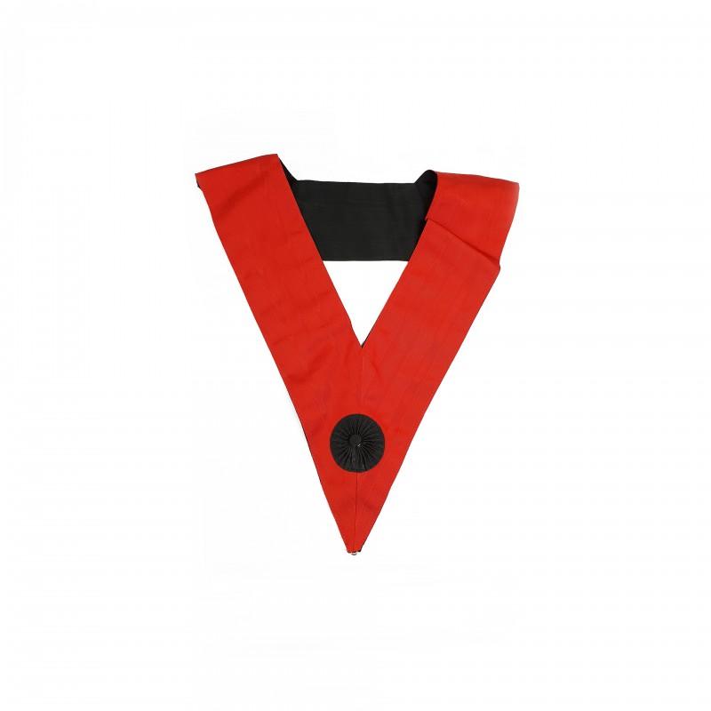 Sautoir IV° Ordre, moire rouge cocarde noire, dos noir cocarde rouge