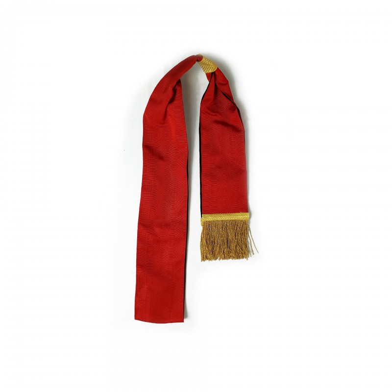 Echarpe-ceinture II° Ordre, moire rouge franges or