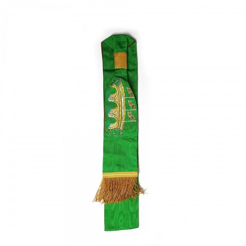Echarpe-ceinture III° Ordre, moire verte, pont et L.D.P., franges or