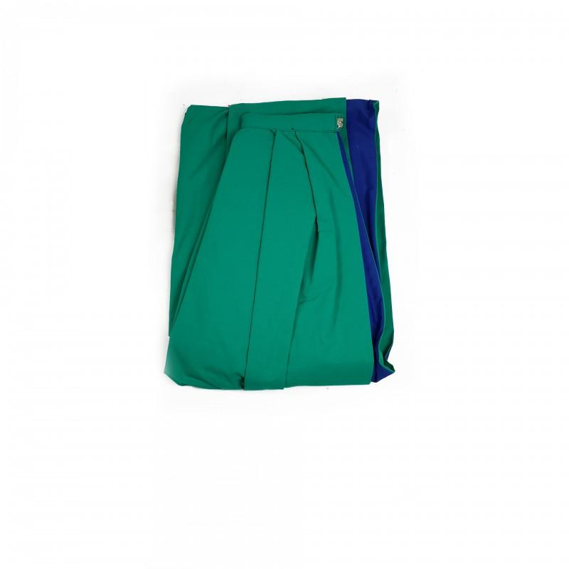 Manteau Chevalier O.B.R.ERIN, tissu vert doublé bleu, lacet de col