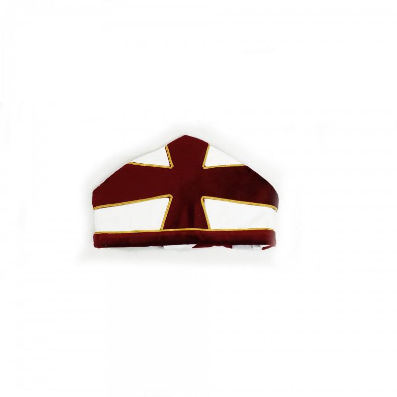 Mitre CTPSAR, faille & velours, croix appliquée soutachée or, fanons frangés bordeaux