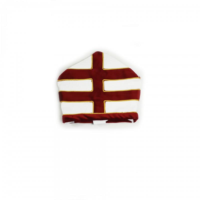 Mitre Précepteur et Gd Officier CTPSAR, faille & velours, double croix appliquée soutachée & fanons frangrés or