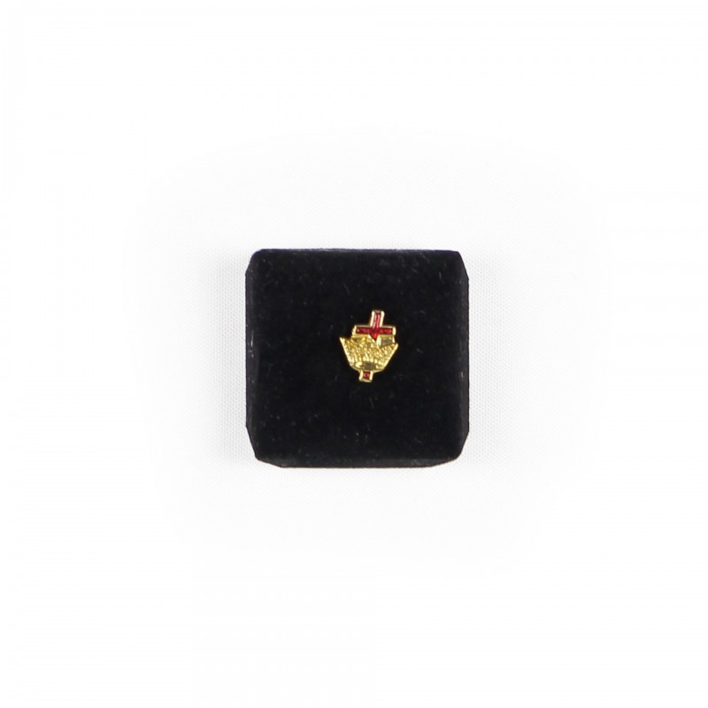 Épinglette TEMPLE (U.S.) Chevalier, Couronne et Croix, émaillé rouge, métal doré