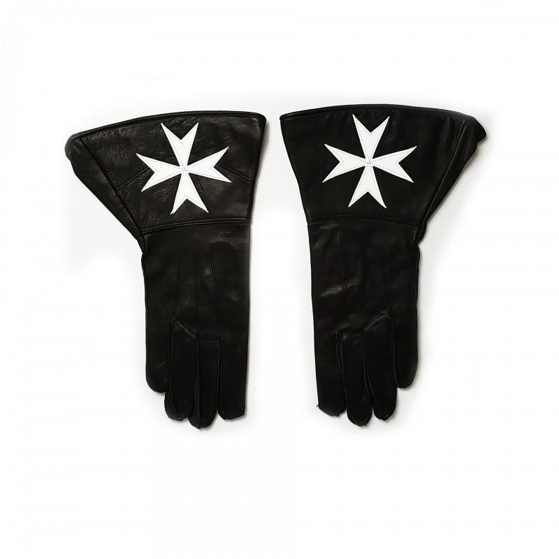 Gants à crispins, cuir noir, Croix Pattée Blanche cousue sur les crispins
