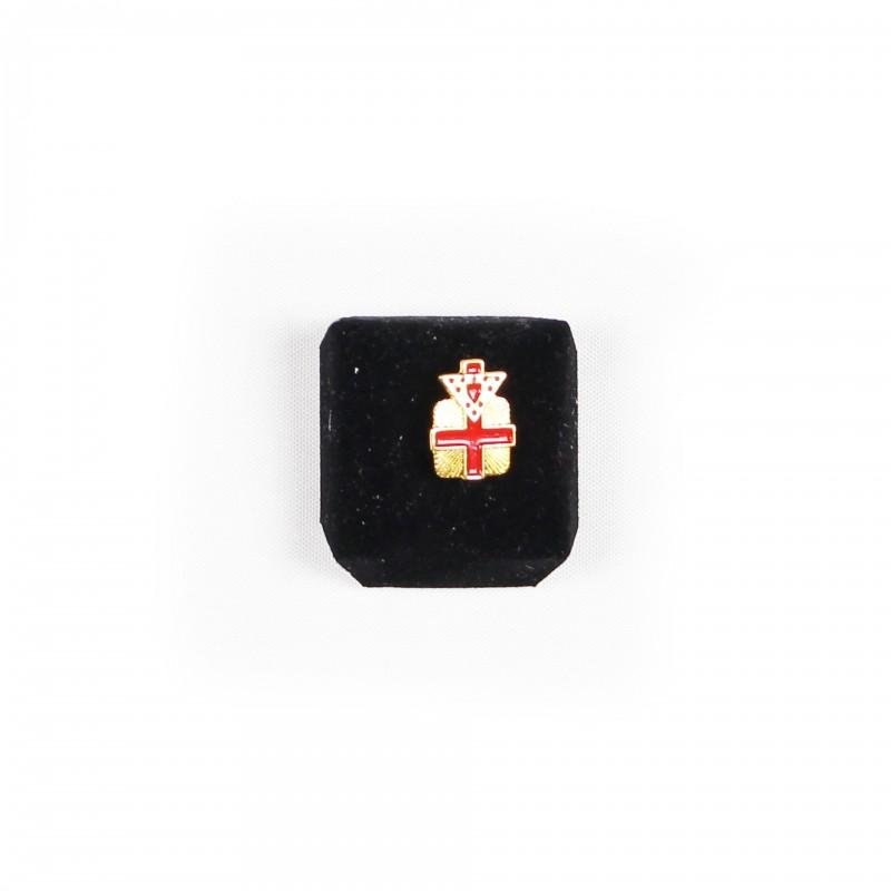 Épinglette TEMPLE (U.S.) Commandeur, Croix rayonnante & triangle, émaillé rouge, métal doré