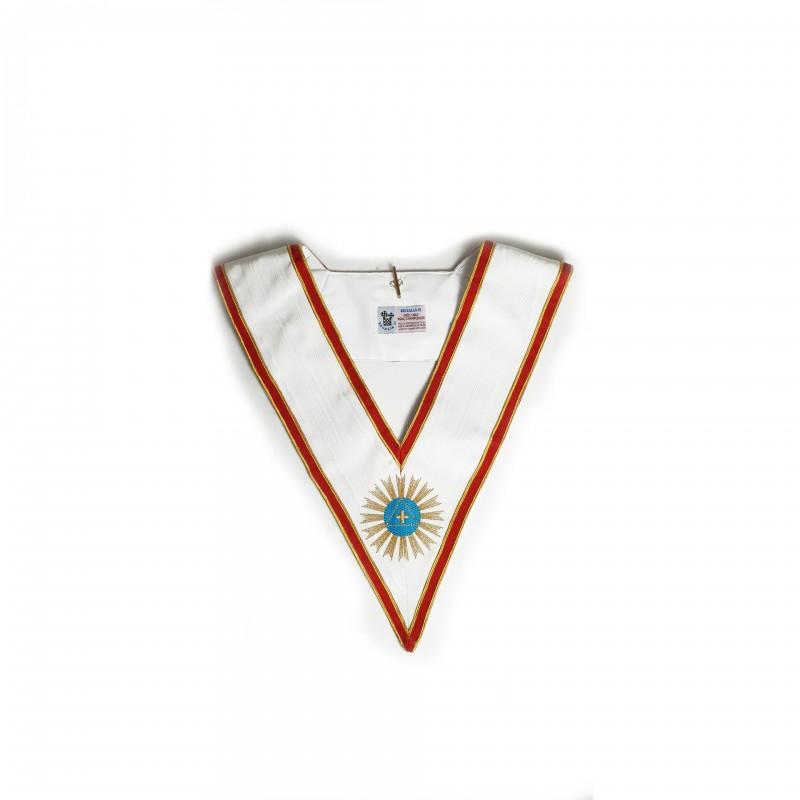 Sautoiir V° Ordre GCGF, blanc/bords rouge/soutaches Or, gloire & triangle bleu