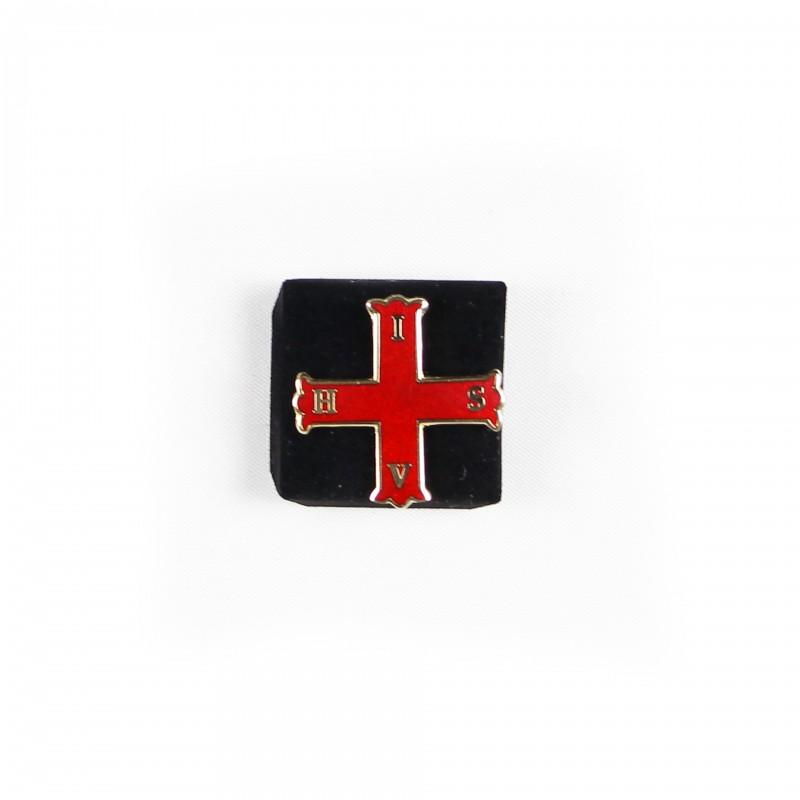 Épinglette Croix Rouge de Constantin (C.R.C.), croix florancée émaillée rouge cloisonné / métal doré