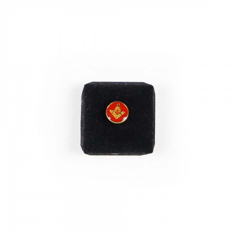 Épinglette Équerre, Compas & G, dans cercle émail rouge