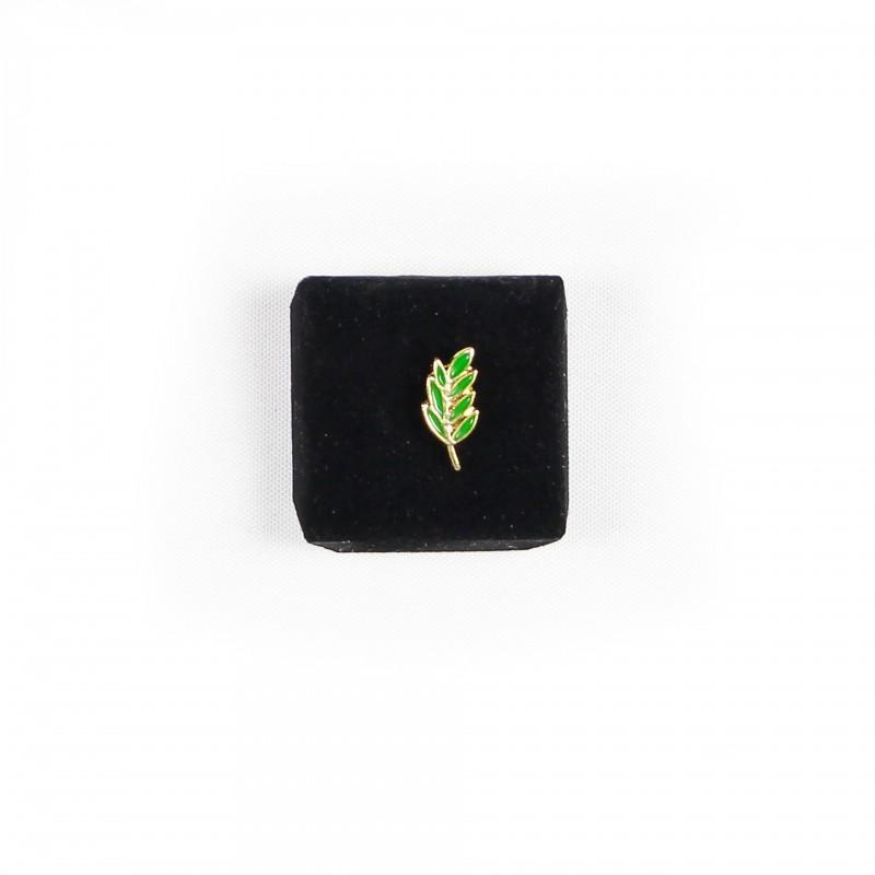 Épinglette Acacia 7 feuilles métal doré/émaillé vert