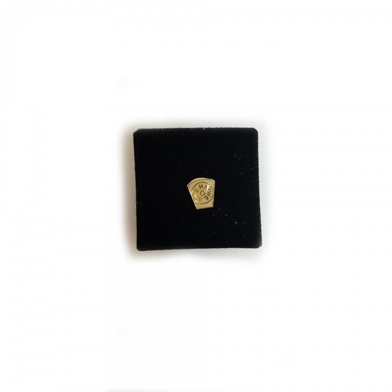 Épinglette MARQUE, petite Clé-de-Voûte émaillée blanc cloisonné, métal doré